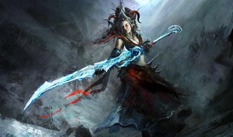 девушка, меч, обои, оружие, корона, арт, рога, хол
