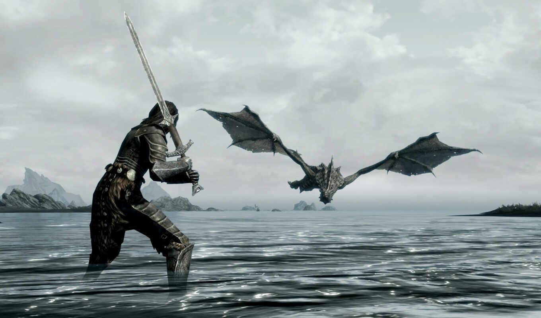 skyrim, scrolls, elder, дракон,