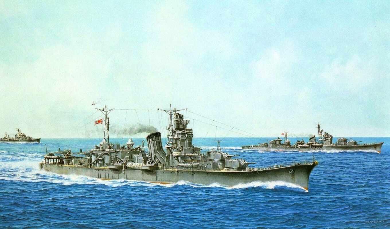 oyodo, японские, часть, корабли, имперские, cruiser, военные,