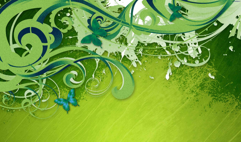 зелёный, завитки, бабочки, краска, линии, streaks, нежность, листва,