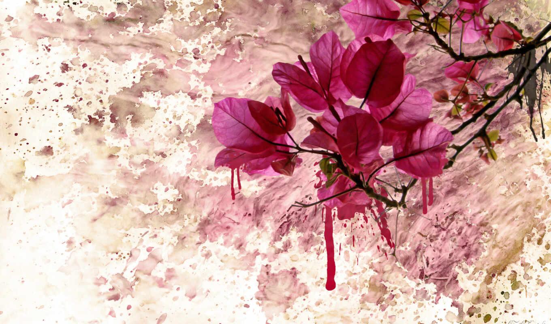 краска, пятна, листья, ветка, flower, purple, background, watercolor, tablo, çiçekli,