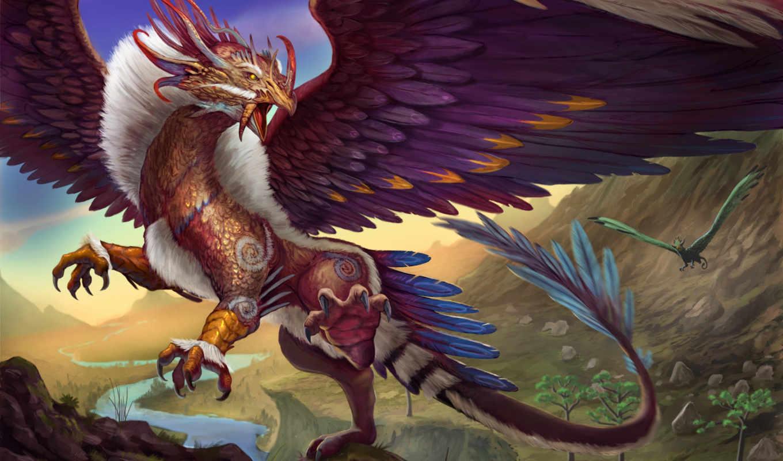 фантастика, дракон, горы, крылья, полет,