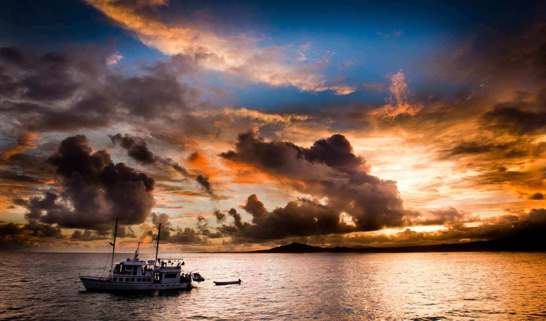 яхта, море, вечер,