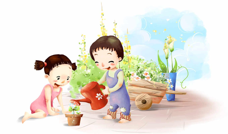нарисованные, дети, девочки, цветы, горшок, лейка, тележка, небо, облака, радость