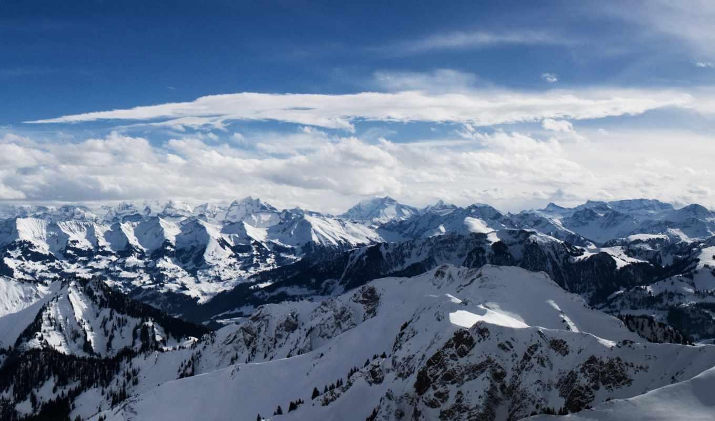 альпы, горы, снег, небо,