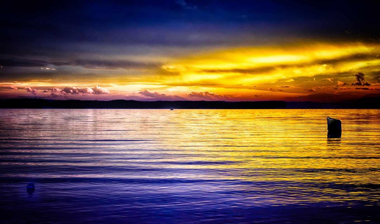 закат, ocean, небо, desktop,