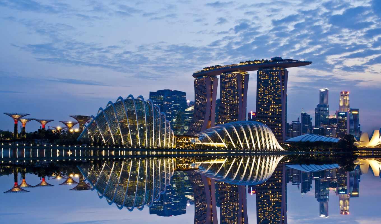 singapore, огни, взгляд,