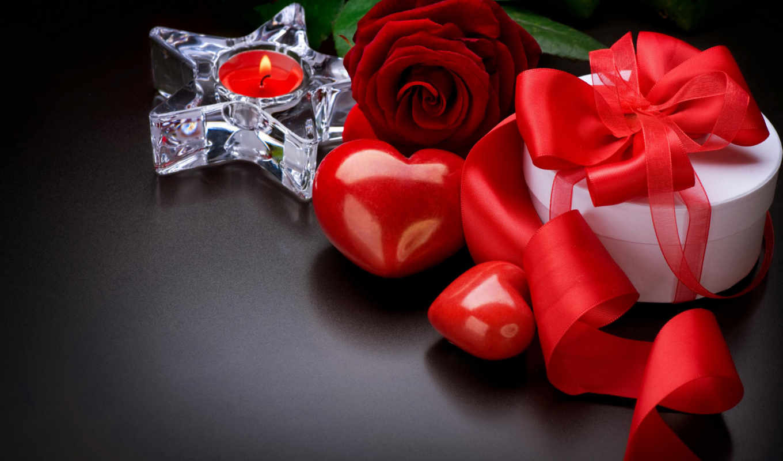 цветы, сердце, роза, свеча,