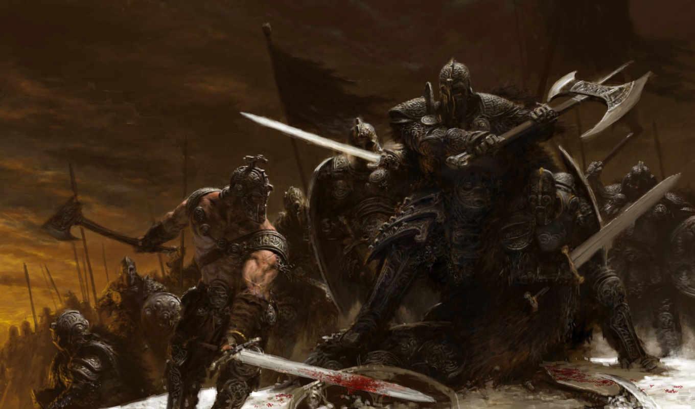битва, оружие, smith, снег, adrian, топор, меч, зима, воины, abstract, fantasy, воин,