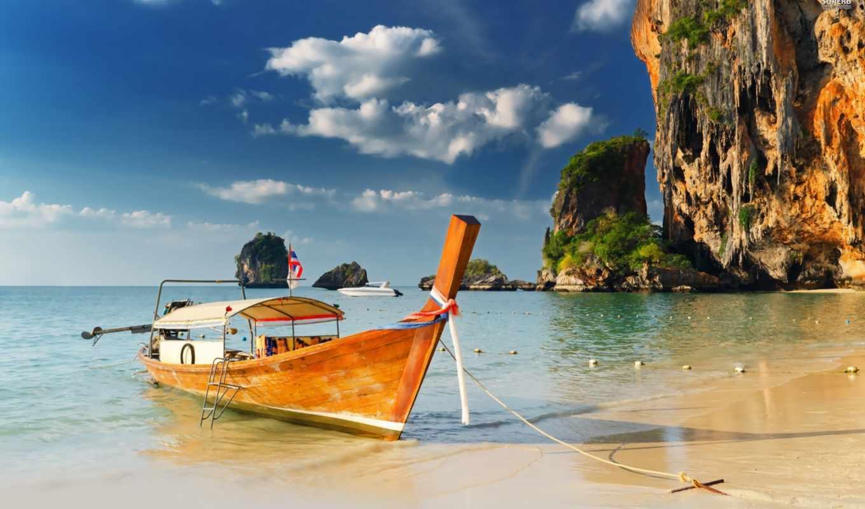 ,лодка, boat, beach, thailand, берег, море, скалы,