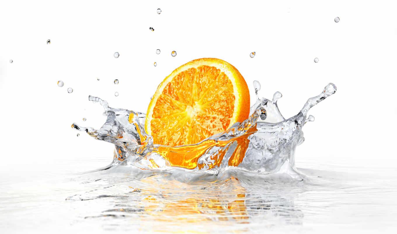 ,апельсин, вода, брызги,