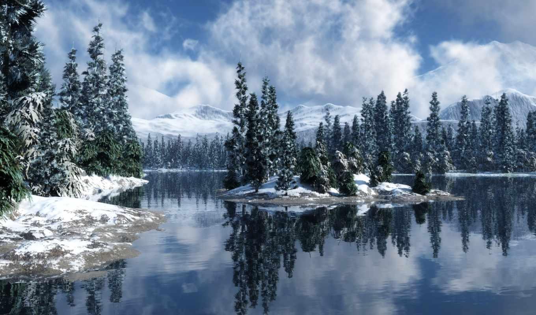 winter, природа, река, ели, года, времена, снег,