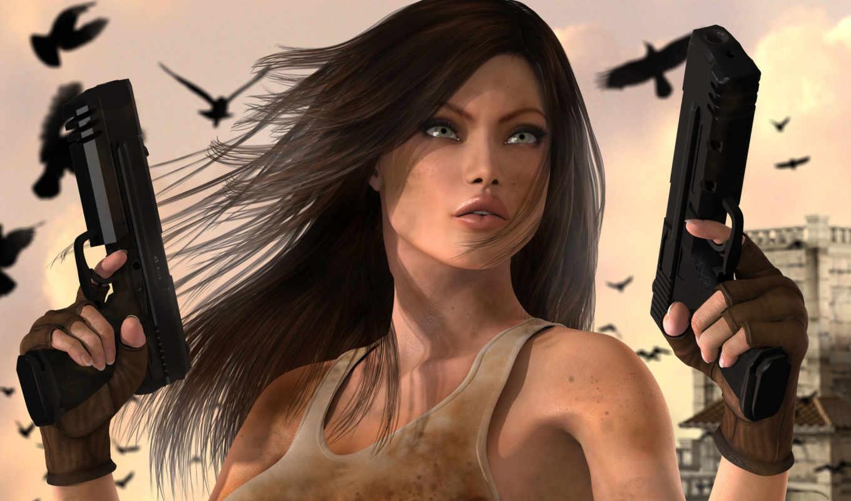 девушка, пистолеты, город, взгляд, птицы, нравится,