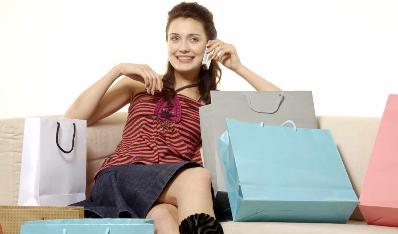 девушка, покупками, женщин, дурости,