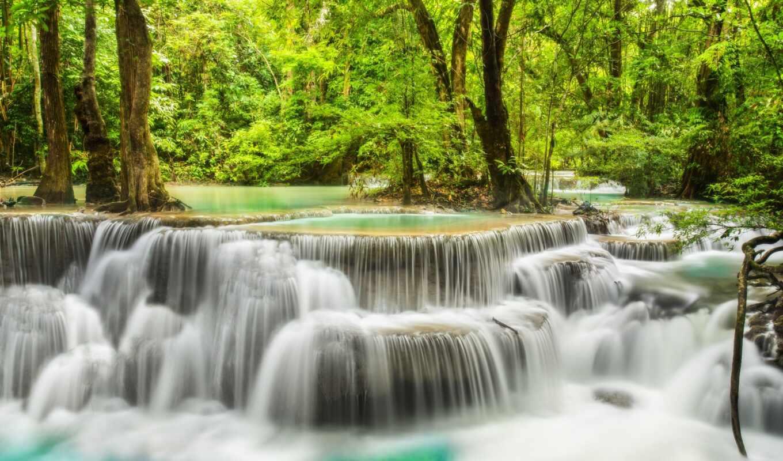водопад, Мозаика, vykladka, стена, дерево, full, множество