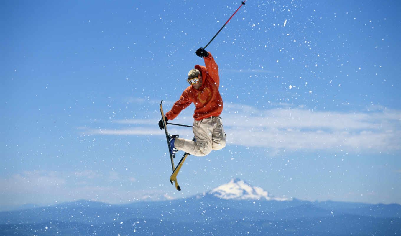 лыжи, спорт, прыжок, горные, фристайл, ipad, iphone, картинку, лыжах,