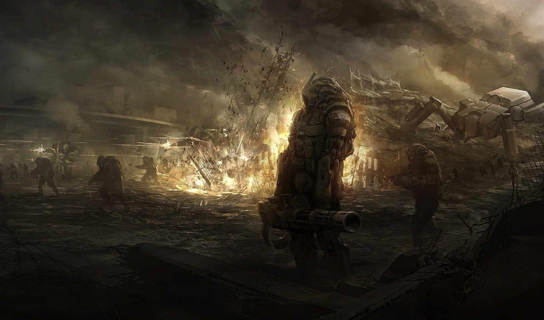 взрыв, битва, робот, арт, огонь, солдаты, руины, sundragon,