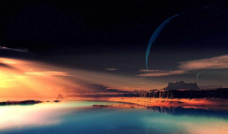 планета, фантастический, пейзаж, чужая, скалы, небо, картинка, hintergrundbilder, горы, долина, море, roten, wolken, küstenlandschaft, von,