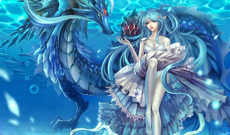 дракон, девушка, эльф, водой, драконы, под, water,