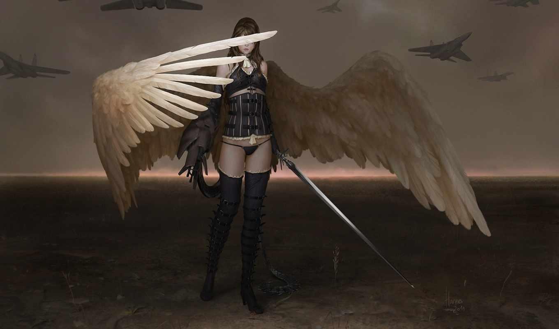 johannes, voss, angel, крылья, меч, art, самолеты, девушка,