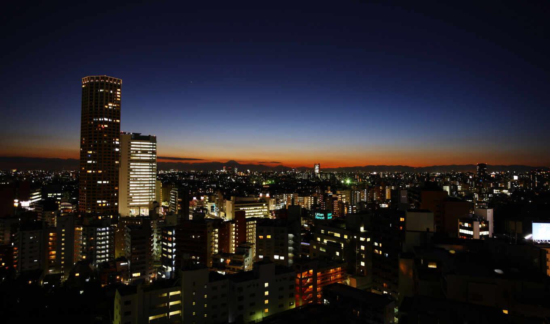 devushki, ночь, море, пейзажи, закат, дверь, горизонт, светодиодная, Япония, Мосты, Токио, Фонари, Города