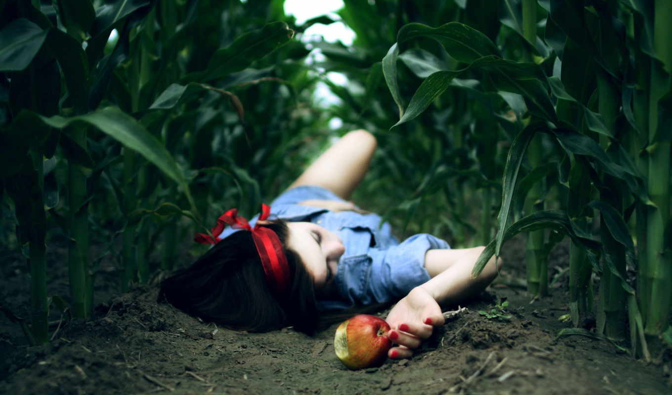 apple, earth, droit, девушка, land, поле,