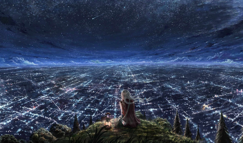 город, аниме, anime, девушка, обои, ночь, ангелы,