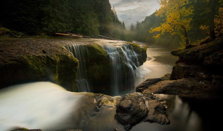 деревья, desktop, full, картинку, computer, воды, download, image, landscape, камни, nature, bild, лесу, forest, waterfall, river, поток, автобусная, остановка, selaler, akarken,