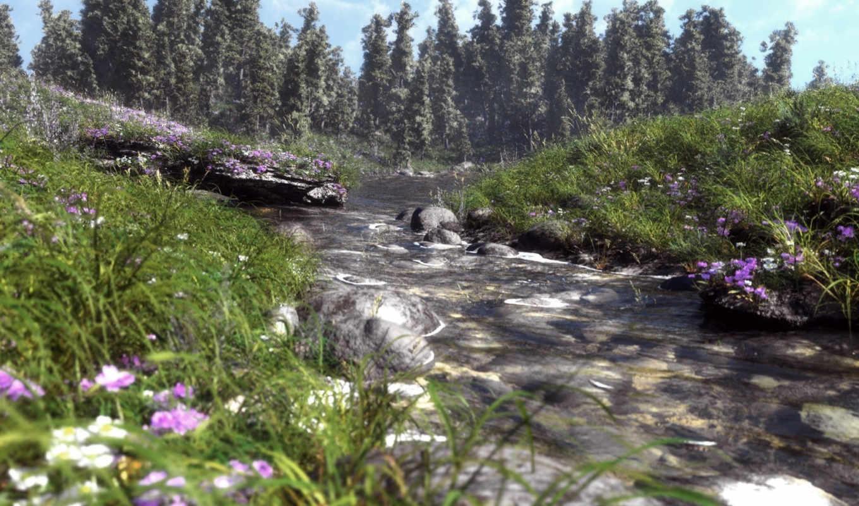 трава, цветы, скалы, полевые, природа, река, art, картинка, лес,