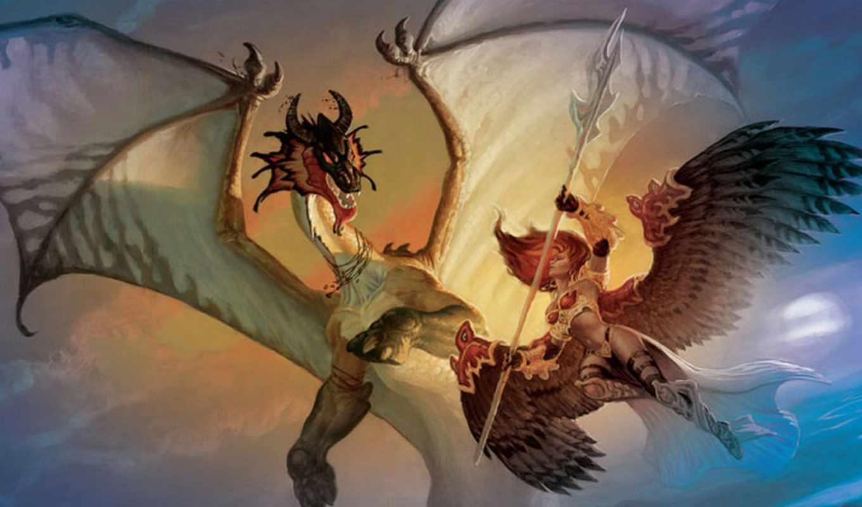 драконом, сражается, альбома, ангелы, марта, дракон, devochka,