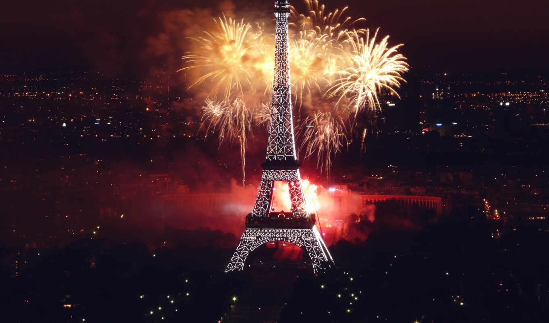 turret, эйфелева, париж, ночь, франция, огни, салют, париже, ночью,