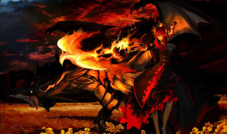 демон, девушка, anime, огонь, phoenix, феникс, more, pinterest,