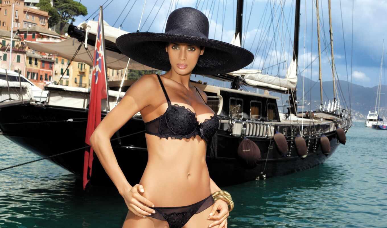 девушка, шляпа, лодка, pale, мост