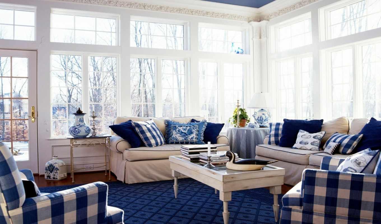 бело, кухня, кухне, зала, синяя, синей, ванной, кухни, интерьер, использовать,
