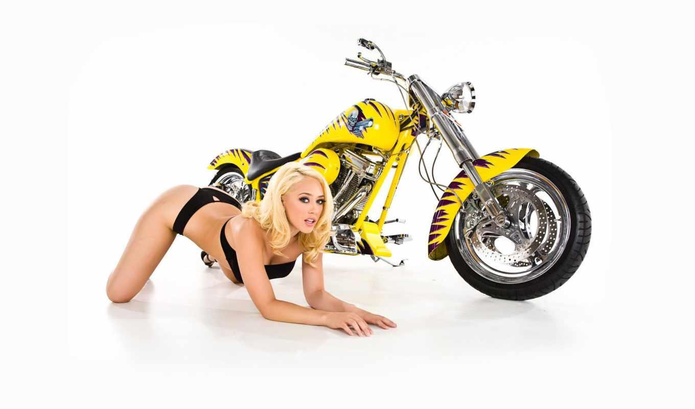 мотоциклы, девушка, желтый мотоцикл,