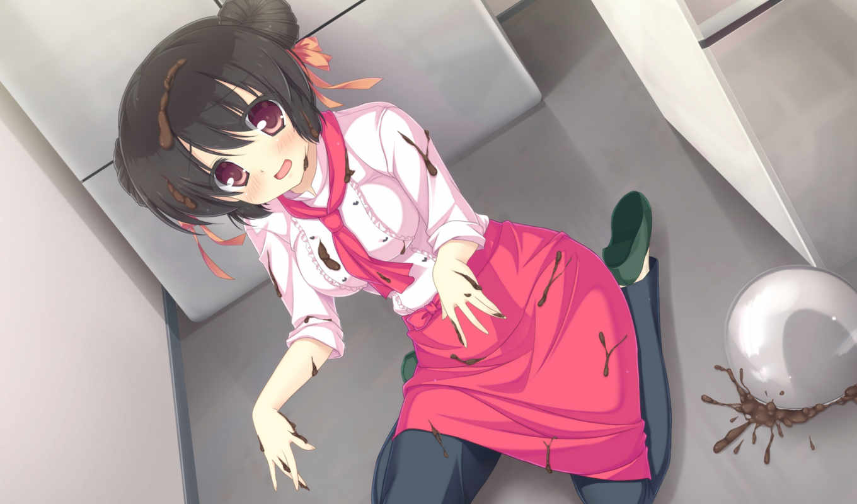 miyako, девушка, mizu, patisserie, brunette, preview, anime, embarrassed, фартук, manga,