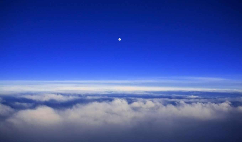 со, облаками, луна, небо, закат, облака, одинокая, закатное,