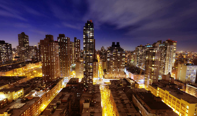 нью, york, new, город, ночь,