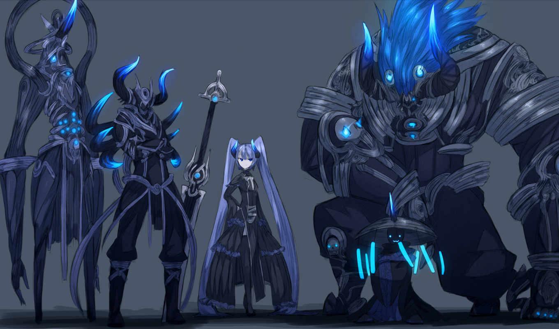 eyes, blue, demon, horns, обои, hair, аниме, armor