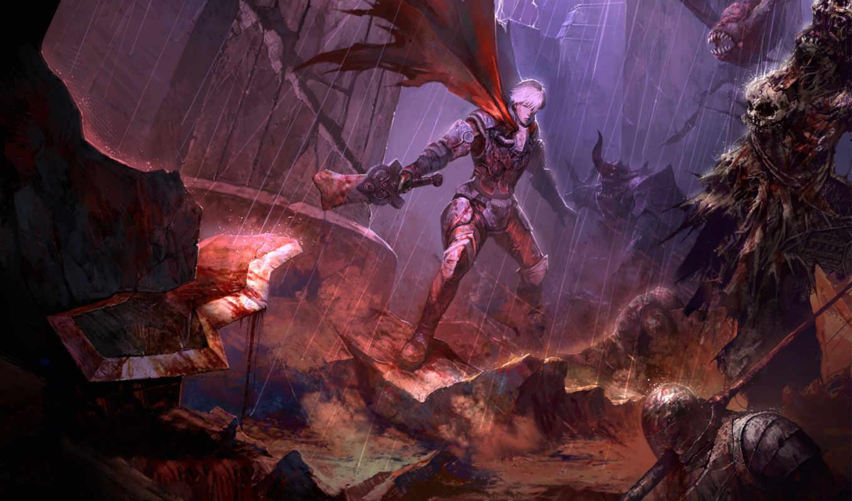 оружие, меч, дождь, колонна, парень, битва, нежить, картинка, картинку,