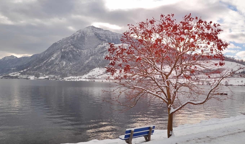 зима, дерево, горы, скамья, вода, река, картинка, кнопкой, ней, правой, save, kar, картинку, выберите, мыши, скачивания,