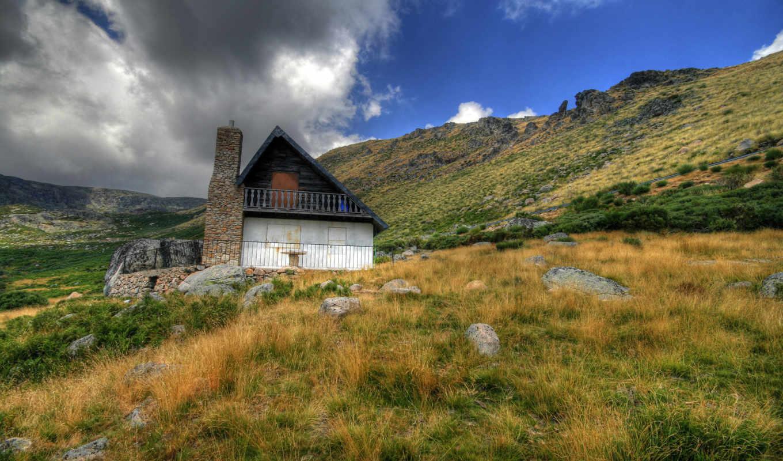 дом, горы, горах, трава, камни, облака, desktop, широкоформатные, click,