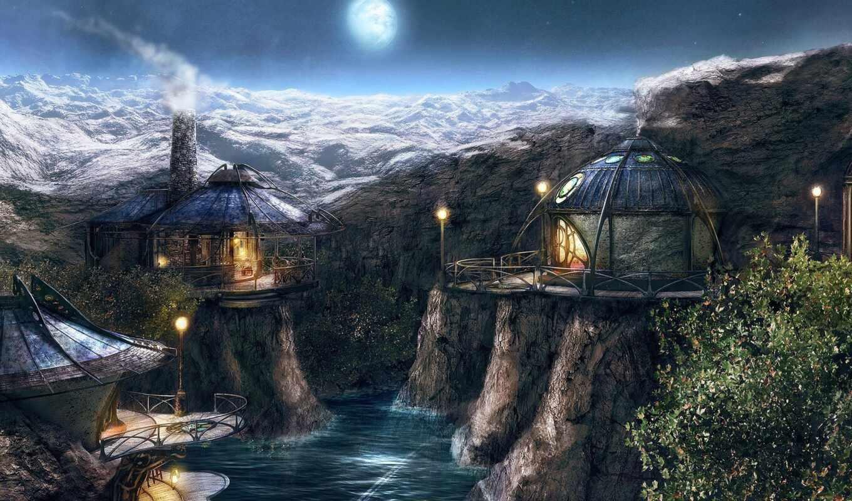 myst, горы, река, деревня, луна,