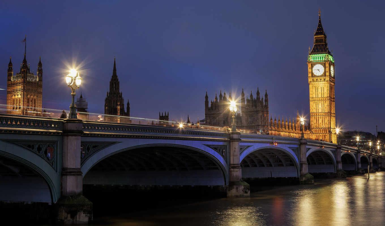 london, англия, великобритания, ночь, westminster, дворец, биг бен, река,