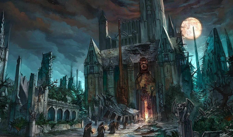 рисунок, разрушен, фантастика, храм, nurkhular, картинка, house, time, fantasy, имеет, горизонтали, вертикали,