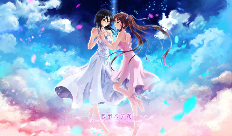 hair, black, barefoot, girls, brown, anime, clouds, wox, twintails, ribbons, original, dress, similar,