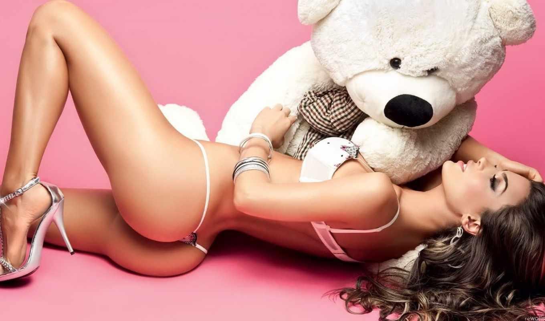 медведь, девушка, медведя, девушки, белый,