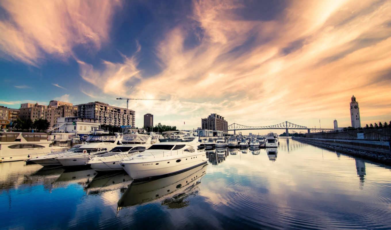 яхты, город, река, дома, мост, катера, здания,