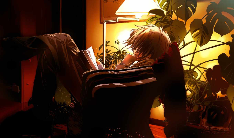 anime, парень, книга, вечер,