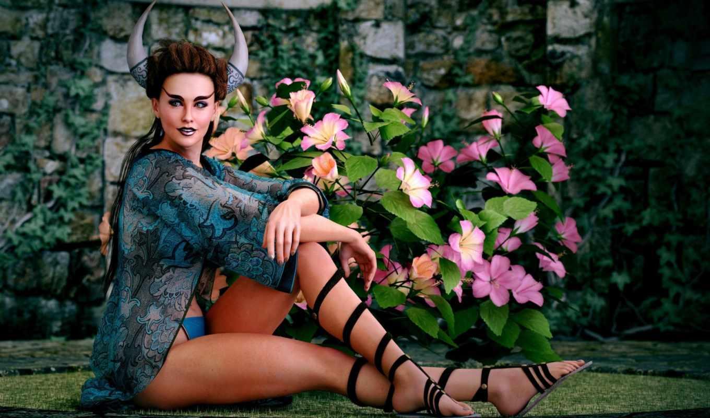 ,, зеленый, красота, розовый, леди, модель,, ботаника, мода, девушка, демон, Бойжеткен, horns, горн